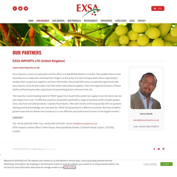 EXSA IMPORTS LIMITED home page image.