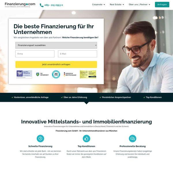 Finanzierung.com GmbH home page image.